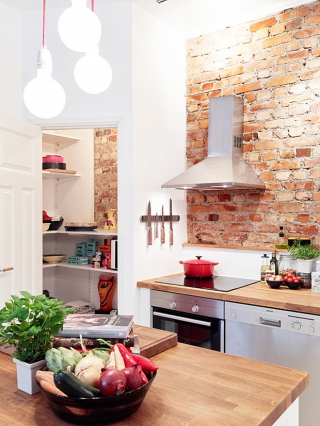 28 exposed brick wall kitchen design ideas