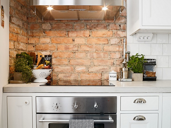 28 Exposed Brick Wall Kitchen Design Ideas