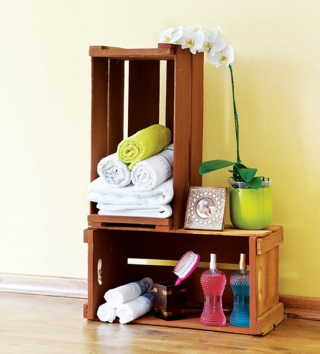 Bathroom recycled crate towel storage