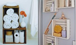 Bathroom recycled crate towel storage