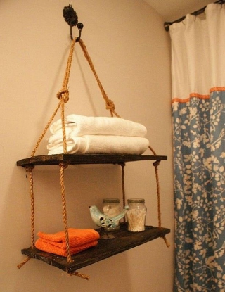 DIY hanging rope shelf ideas