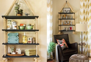 DIY hanging rope shelf ideas