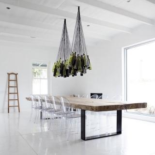 Wine bottle chandelier ideas