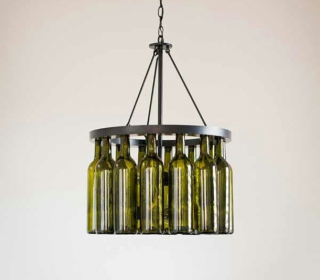 Wine bottle chandelier ideas